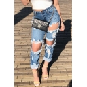 Edgy Girls' High Waist Distressed Rolled Cuffs Ankle Length Slim Fit Carrot Jeans in Light Blue