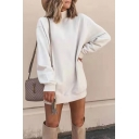 Womens Elegant Plain White High Collar Long Sleeve Loose Mini Dress Pullover Sweatshirt