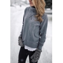 Womens Simple Cross Lines Embroidery Plain Gray High Collar Long Sleeve Casual Fitted Pullover Sweatshirt