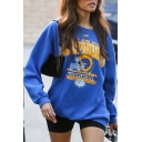 Womens Popular Royal Blue CHAMPIONS Printed Long Sleeve Oversized Graphic Sweatshirt