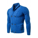 Mens Popular Solid Color Shawl Collar Long Sleeve Double Breasted Long Sleeve Slim Fit Cardigan Knitted Coat