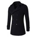Mens Plain Long Sleeve Double Breasted Notched Collar Split Back Longline Woolen Pea Coat