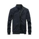 Mens Casual Black Plain Long Sleeve Zip Up Stand Collar Slim Fit Track Jacket