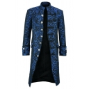 Steampunk Retro Floral Printed Long Sleeve Stand Collar Single Breasted Victoria Longline Coat