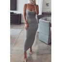Womens Casual Plain Speghatti Straps Contrast Trim Slim Fit Maxi Cami Dress