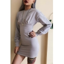 Womens Vintage Gray Solid Long Sleeve Round Neck Bustier Mini Sheath Dress