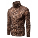 Mens Stylish Snakeskin Printed Long Sleeve High Collar Slim Fit Warm Cool Pullover Sweater