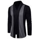 Men's Casual Colorblock Long Sleeve Open-Front Slim Cardigan Coat