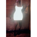 Womens Sexy Nightclub Style Plain Scoop Neck Sleeveless Cool Reflective Fitted Mini Slip Dress
