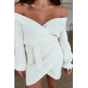 Womens Sexy V-Neck Long Sleeve Tie Waist Plain Oversized Mini Surplice Wrap Dress