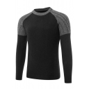 Mens Casual Color Block Round Neck Long Sleeve Slim Fit Black Pullover Sweater