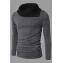 Mens Unique Colorblocked Pile Collar Long Sleeve Fitted Slim Knitted Pullover Sweater Top