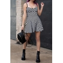 Hot Fashion Vintage Black and White Plaid Pattern Sleeve Casual Mini A-Line Strap Dress