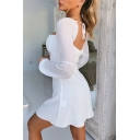 Edgy Girls Popular Solid Color Shirred Front Lantern Long Sleeve Tied Back Mini Sweetheart Dress