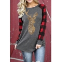 Christmas Series Sequined Elk Checked Long Sleeve Curved Hem Loose T-Shirt