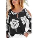 Womens Elegant Flower Printed Keyhole Detail Ruffled Long Sleeve Black Leisure T-Shirt