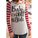 Letter BABY IT'S COLD OUTSIDE Printed Color Block Striped Long Sleeve Fitted T-Shirt