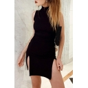Womens Elegant High Collar Sleeveless Split Hem Black Mini Nightclub Dress