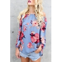 Womens Casual Floral Printed Off Shoulder Long Sleeve Oversized Blue Chiffon Shirt