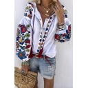 New Trendy White Cartoon Flowers Printed Lantern Sleeve Button Down Casual Holiday Shirt
