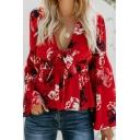 New Trendy Floral Pattern Trumpet Long Sleeve Bowknot V Neck Ruffle Shirt Blouse