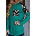 Cool Sequined Zigzag Printed False Pocket Long Sleeve Crew Neck Green Leisure T-Shirt