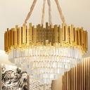 Multi-Tier Crystal Hanging Light Fixture Modern Metal Chandelier in Brass for Indoor