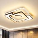 Led Framed Flush Mount Lamp with Diffuser Modern Metal Indoor Ceiling Flush Light in Black and White, 16