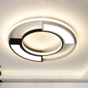 Modernism Ring Flushmount Light with Frosted Diffuser Metallic Black and White Led Flush Ceiling Light in Warm/White, 16
