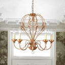 5/6 Lights Ceiling Light Traditional Candle Metal Hanging Chandelier in Brass for Dining Room with Crystal Draping