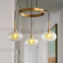 Wagon Wheel Clear Glass Chandelier Farmhouse 3/6/8 Heads Pendant Ceiling Light in White/Gold
