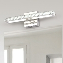 Modern Style Rectangle Vanity Lighting Clear Crystal Integrated LED Bathroom Wall Sconce Lamp
