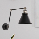 Metal Swing Arm Wall Lighting Industrial Style 1 Head Black/White Reading Wall Light with Conical Shade for Bedroom