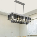Rectangular Dining Room Chandelier Light Smoke Gray Crystal Block 6/8/10 Lights Modernism Hanging Lamp
