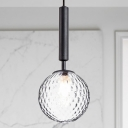 1 Head Bedroom Pendant Light Contemporary Black/Brass Hanging Lamp Kit with Globe Prism Glass Shade
