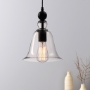 Nordic Bell Ceiling Pendant Light Amber/Clear Glass 1 Head Dining Room Hanging Lamp Kit