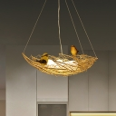 6/9 Lights Egg Chandelier Lighting with Metal Nest and Bird Accents Vintage White Glass Hanging Light in Gold, 19.5