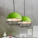 1 Head Green Domed Pendant Light Metal Vintage Industrial Dining Room Pendant Lamp