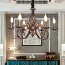 6 Lights Metal Ceiling Light Rustic Bronze Candle Style Living Room Chandelier Lamp