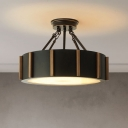 Black Drum Semi Flush Light Traditional Metallic LED Close to Ceiling Light Fixture in Warm Light