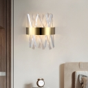 Modern Style Prism Wall Lighting Clear Crystal LED Bedroom Wall Mounted Lamp in Gold Finish