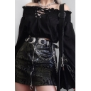 Gothic Hot Women's Long Sleeve Off The Shoulder Lace-Up Front Fitted Crop T-Shirt in Black