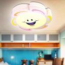 Cartoon Sun Shape Flush Mount Light Acrylic LED Bedroom White Ceiling Lighting in Warm/White/3 Color Light