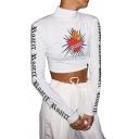 Casual White Girls' Long Sleeve High Neck Piercing Heart Print Letter ROARER Slim Crop T-Shirt