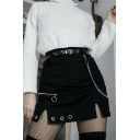 Punk Goth High Waist Button Chain Zip Embellished Eyelet Detail Split Black Mini A-Line Skirt for Female