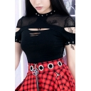 Punk Sexy Gothic Female Short Sleeve Crew Neck Studded Hollow Out Eyelet Buckle Sheer Mesh Slim T-Shirt in Black