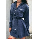 Blue Chic Trendy High Waist Button Pocket Front Flared Pleated Corduroy Short A-Line Skirt for Ladies