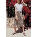 Sexy Elegant Girls Elastic Waist Leopard Print Mid A-Line Skirt in Brown
