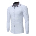Mens Casual Plaid Panel Turn-Down Collar Long Sleeve Button Placket Casual Shirt