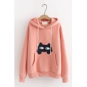 Womens Cute Embroidery Cat Pocket Long Sleeve Loose Thick Drawstring Hoodie